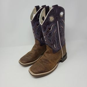 Old West Youth Girl Western Leather Boots Size 4D